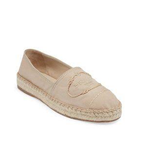 Prada Logo Canvas Espadrilles Shoes (Beige) 9B